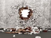 Grunge Room Interior with Broken Wall — Stock Photo
