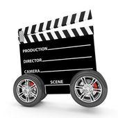 Cinema Clap on Wheels isolated on white background — Stock Photo