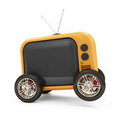 Retro TV on Wheels isolated on white background — Stock Photo