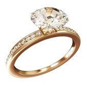 Anello di nozze d'oro con diamanti isolato su sfondo bianco — Foto Stock