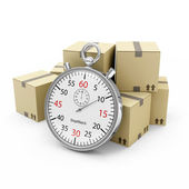 Express Delivery Concept. Cardboard Boxes with a Stopwatch isolated on white background — Stock Photo