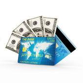 Concepto de finanzas. tarjeta de crédito con un montón de billetes aislado sobre fondo blanco — Foto de Stock