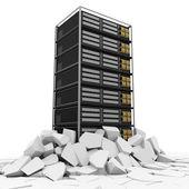 Ilustración abstracta de rack de servidores modernos rompiéndose a través del piso — Foto de Stock