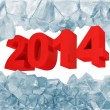 New Year 2014 Breaking Through from Ice Wall isolated on white background — Stock Photo