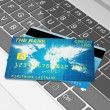 Stock Photo: Close-up illustration of Modern Laptop and Credit Cards.