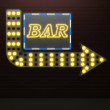 3d illustration of illuminated arrow sign bar and light bulbs surround — Stock Photo