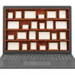 Modern Laptop with Empty Photo Frames on Wooden Shelf — Stock Photo
