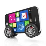 Smartphone on Wheels isolated on white background — Stock Photo #29638309