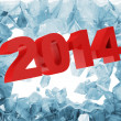 New Year 2014 Breaking Through from Ice Wall — Stock Photo