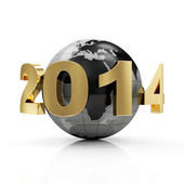 New Year 2014 around Earth planet isolated on white background — Stock Photo