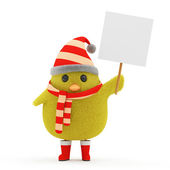Little Chicken Santa with Blank Board — Stock Photo