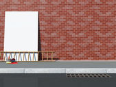 Blank Billboard near the Brick Wall with Ladder and Paint Cans — Stock Photo