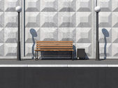 Abstract illustration of Street with Bench and Street Lamps near the Concrete Wall — Stock Photo