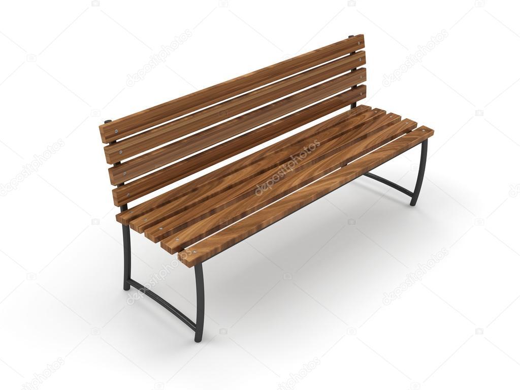 公园的长椅上孤立的白色背景上 - 图库图片