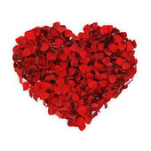 Heart shape red rose petals — Stock Photo