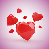 Red Hearts in Origami Style — Stock Photo