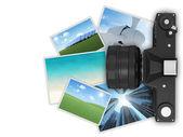 Câmera isolada no fundo branco — Fotografia Stock