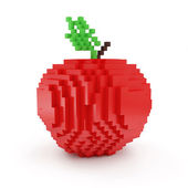 Red Apple in Pixel Style — 图库照片