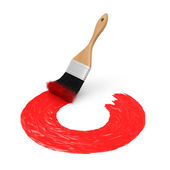 Drawn Question Mark with Red Paint Brush — Zdjęcie stockowe