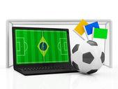 Concetto di Pc portatile di gioco del calcio. — Foto Stock