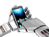 Smart Phone in  Robotic Hand — Stockfoto