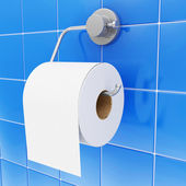 White Toilet Paper on Holder in Bathroom — Stock Photo