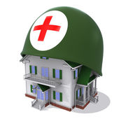House in helmet a red cross — Stock Photo