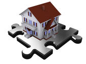 House on part of puzzle — Stock Photo