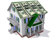 Dollars on house — Stock Photo