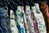 Row of hanged floral Print Short — Stock Photo