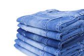 Stack of blue jeans — Stock Photo