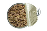 Top view of opened can with rices — Stock Photo