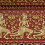 Thai style gloden deva carving on wood — Stock Photo #13442411