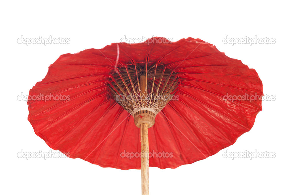 Red umbrella with Thai ornament  Stock Photo #13442345