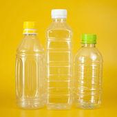 Group of empty transparent plastic bottles — Stock Photo
