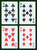 Dokuz oyun kartları — Stok fotoğraf