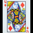 Playing cards - Queen of diamonds — Stock Photo #18168253