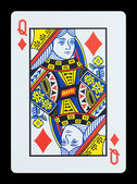 Playing cards - Queen of diamonds — Stock Photo
