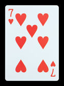 Playing cards - Seven of hearts — Stock Photo
