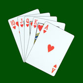 A royal straight flush playing cards poker hand in hearts — Stock Photo