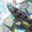 Audio cassette tapes and cd discs — Stock Photo