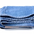 Blue jeans on a white background — Stock Photo