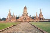 Zřícenina cihlový chrám v ayutthaya, Thajsko — Stock fotografie