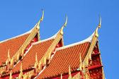 Thai art on roof church at Thai temple — Stock Photo