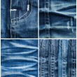 Set of jeans textures backgrounds — Stock Photo