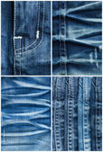 Set of jeans textures backgrounds — Stock fotografie