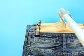 Close-up of jeans on a rack — Photo