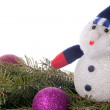 Snowman and spruce branches. — Stock Photo