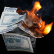 House of Dollar. fire — Stock Photo