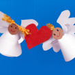 Stock Photo: Two toy angel and heart